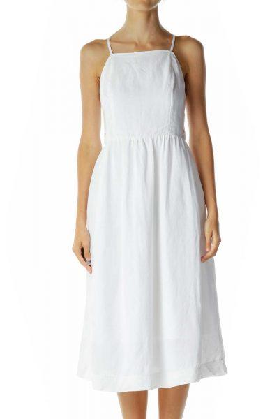 White Side Button Midi Dress