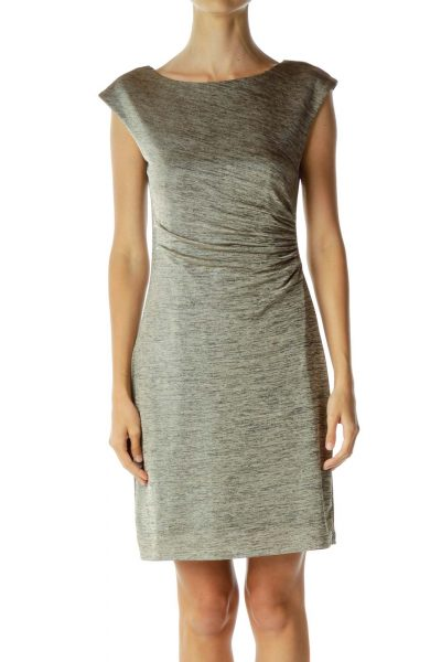 Gold Scrunch Detailed Fitted Dress