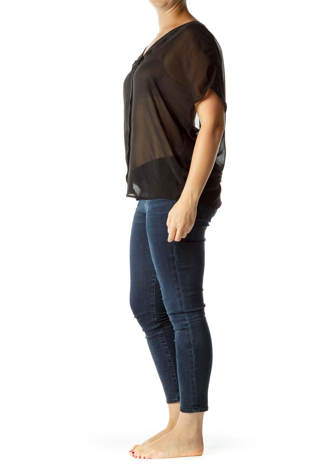 Black Sheer Short Sleeve Blouse