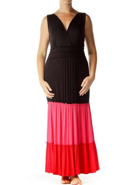 Black Red Pink Color Block Maxi Dress