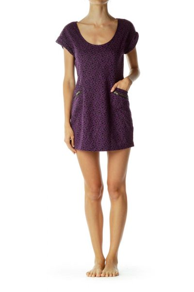 Black Purple Polka Dot Metallic Detail Dress