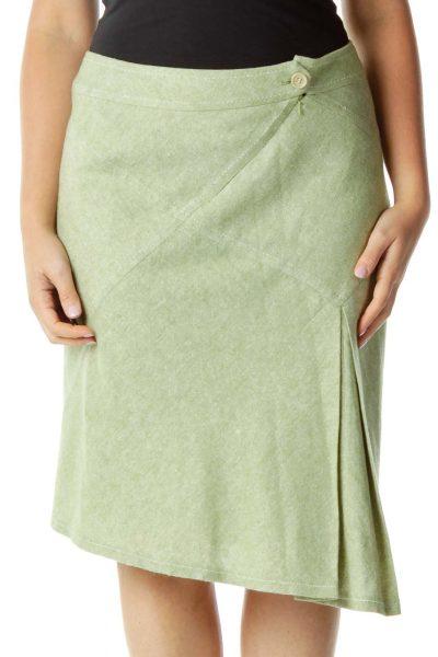 Green Woven A-Line Skirt