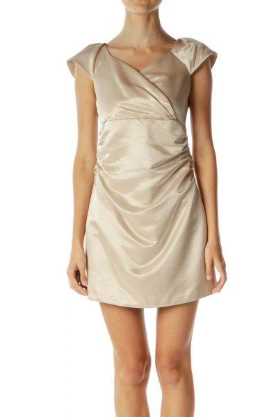 Gold Scrunch Detail Satin Dress