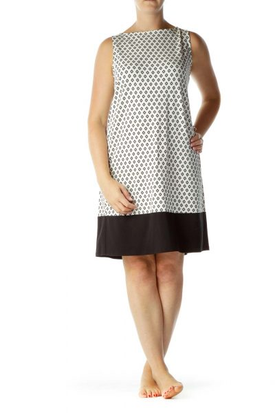 Black White Print Day Dress