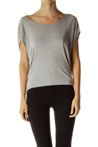 Gray Bat-Sleeve Loose T-shirt