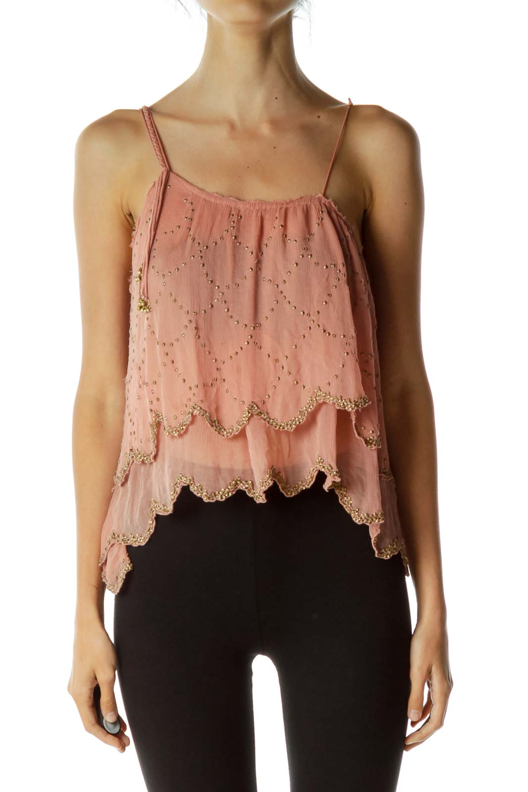 Pink Layered Studded Sheer Top