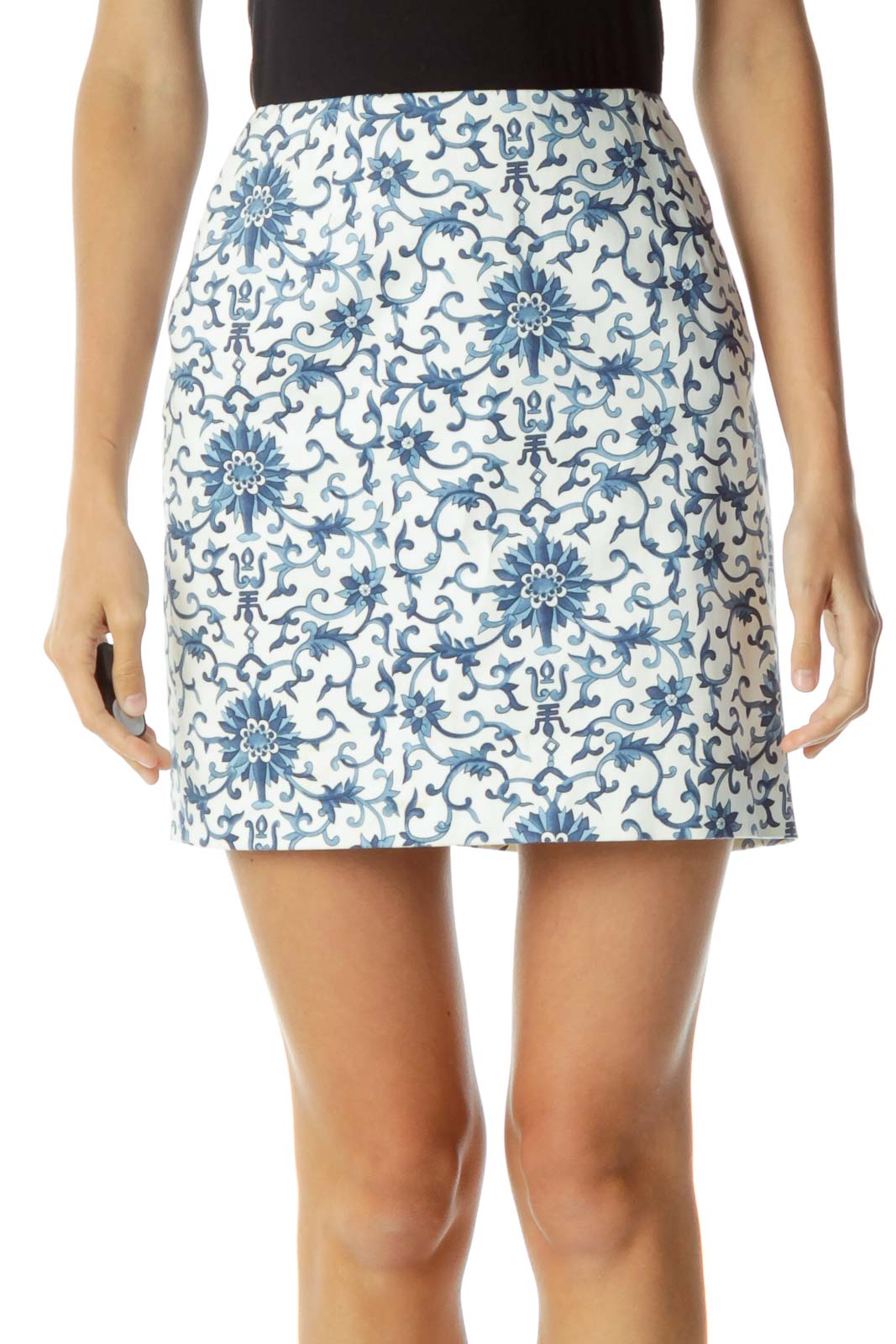 Cream Blue Royal Print Mini Skirt