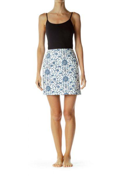 Cream Blue Royal Print Mini Skirt