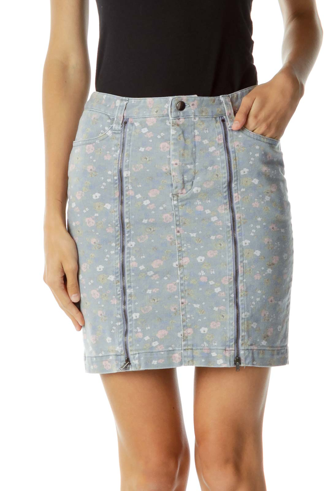 Gray Pink Flower Print Zippered Skirt