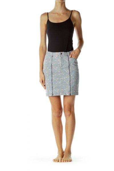 Gray Pink Flower Print Zippered Skirt