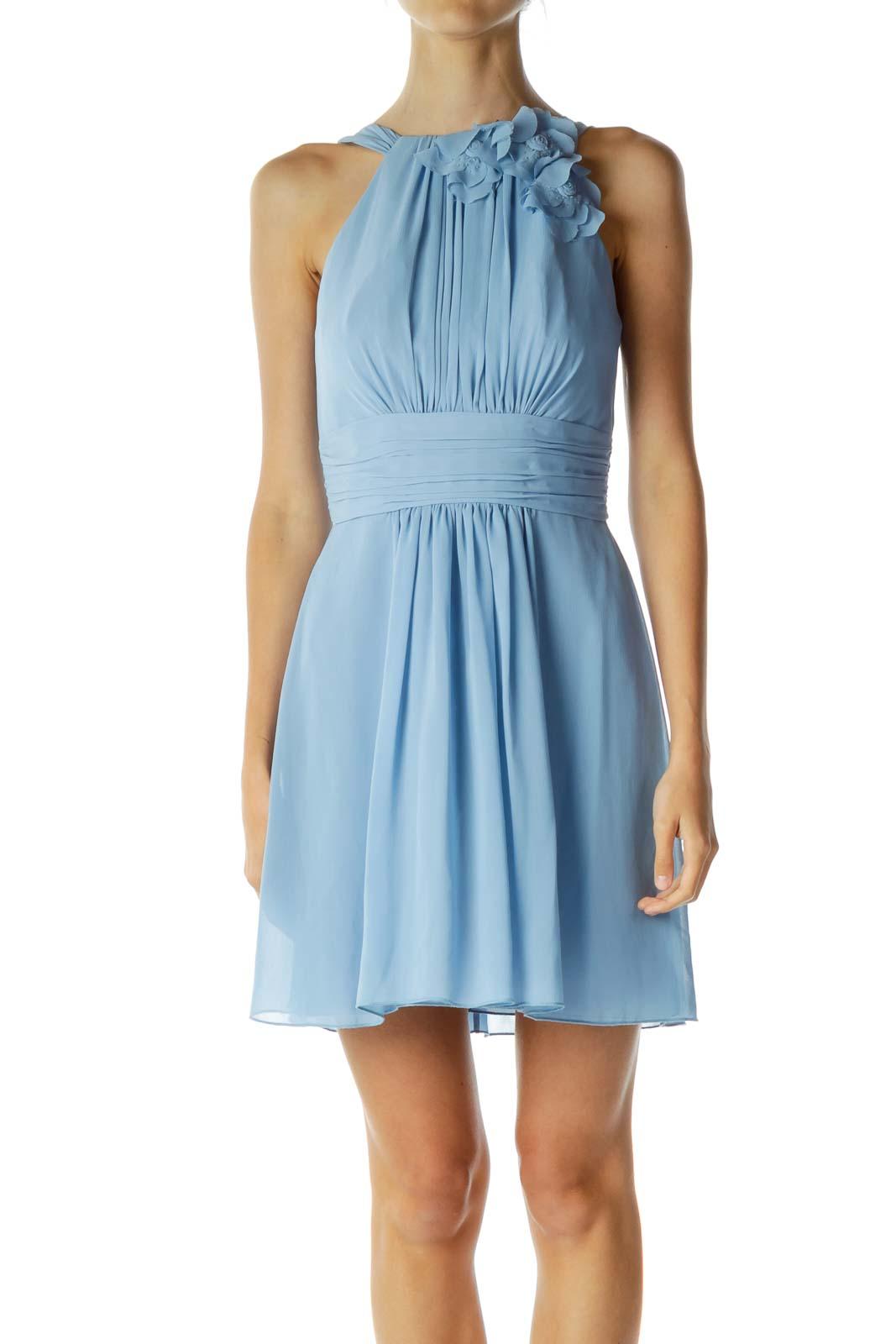 Blue Scrunched Flower Cocktail Dress