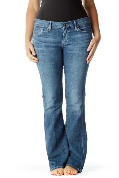 Blue Flared Washed Jeans