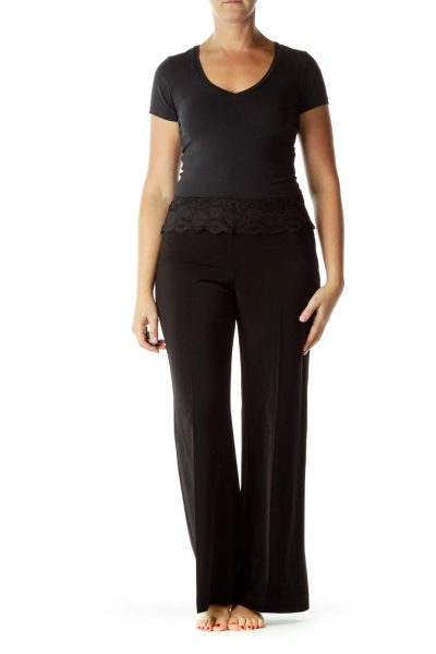 Black Lace Top Wide-Leg Slacks