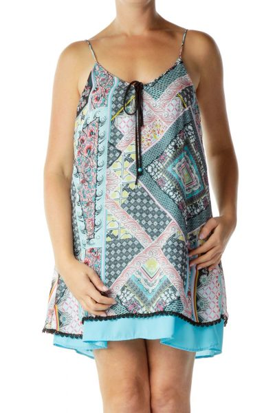 Multicolor Print Shift Dress