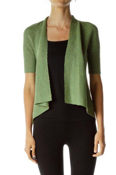 Green Wool Ribbed Knit Caridgan