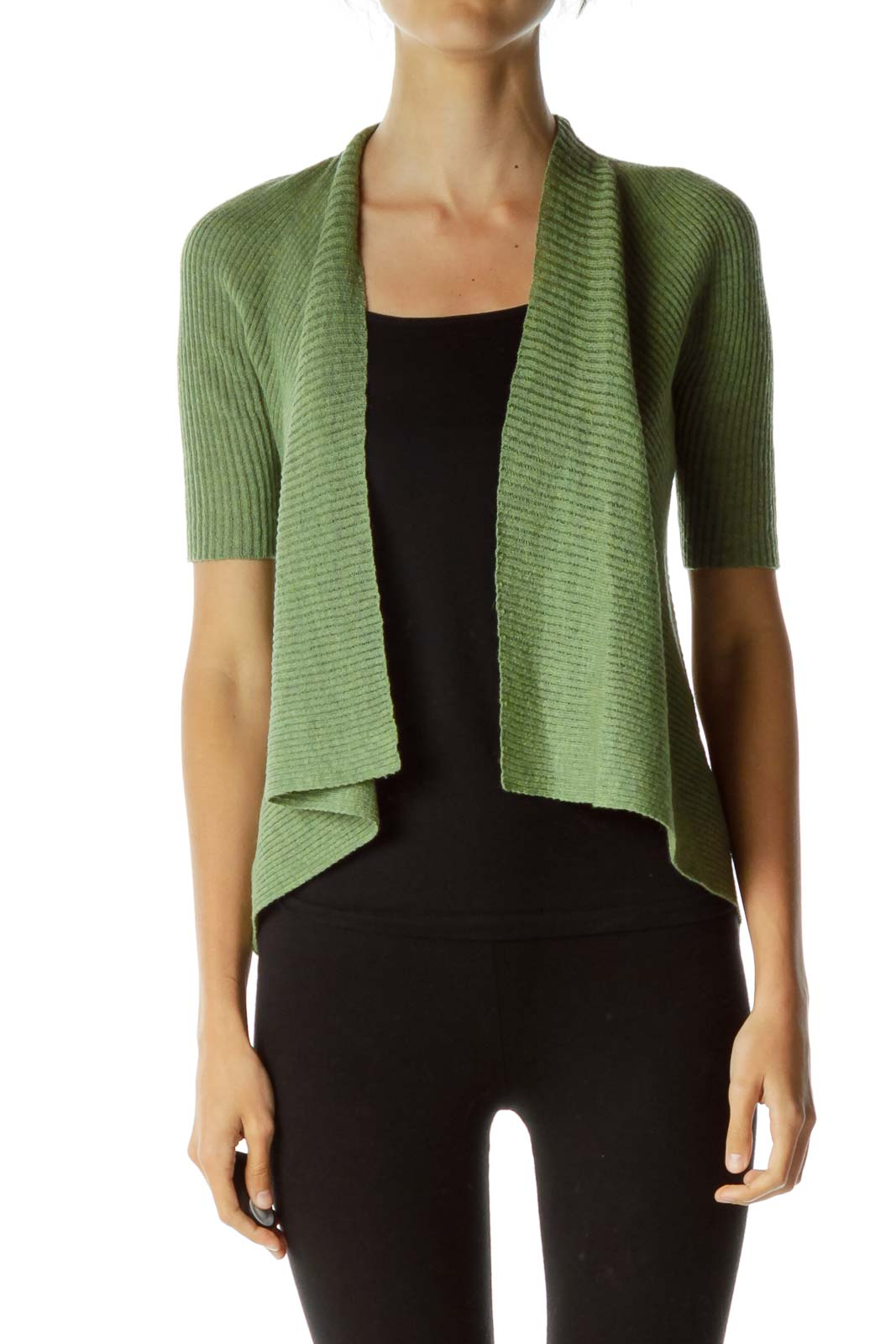 Green Wool Ribbed Knit Caridgan