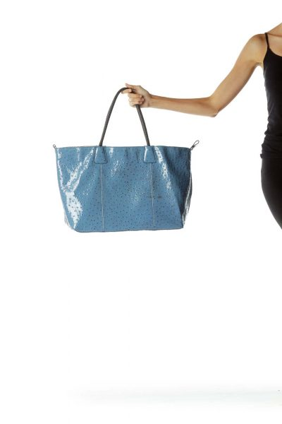 Blue Shiny Textured Tote