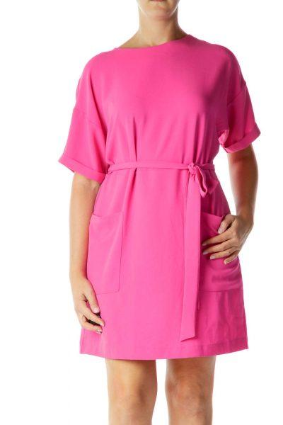Pink Pocketed Shift Dress
