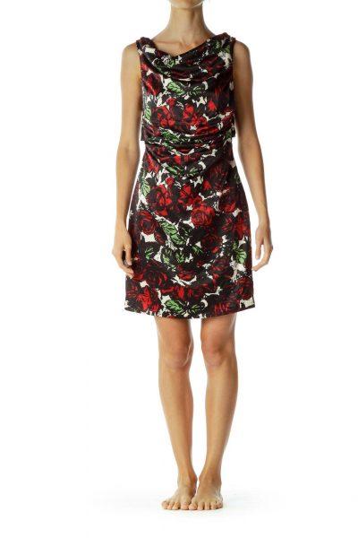 Black Red Open-Back Floral Sheath Dress
