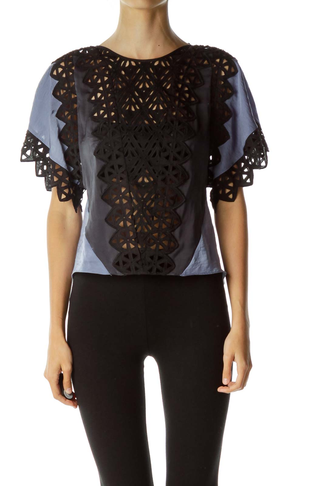 Blue Black Embroidered Blouse
