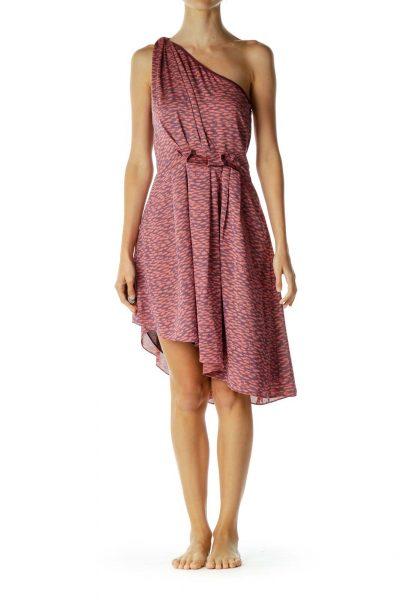 Pink Purple One-Shoulder Cocktail Dress