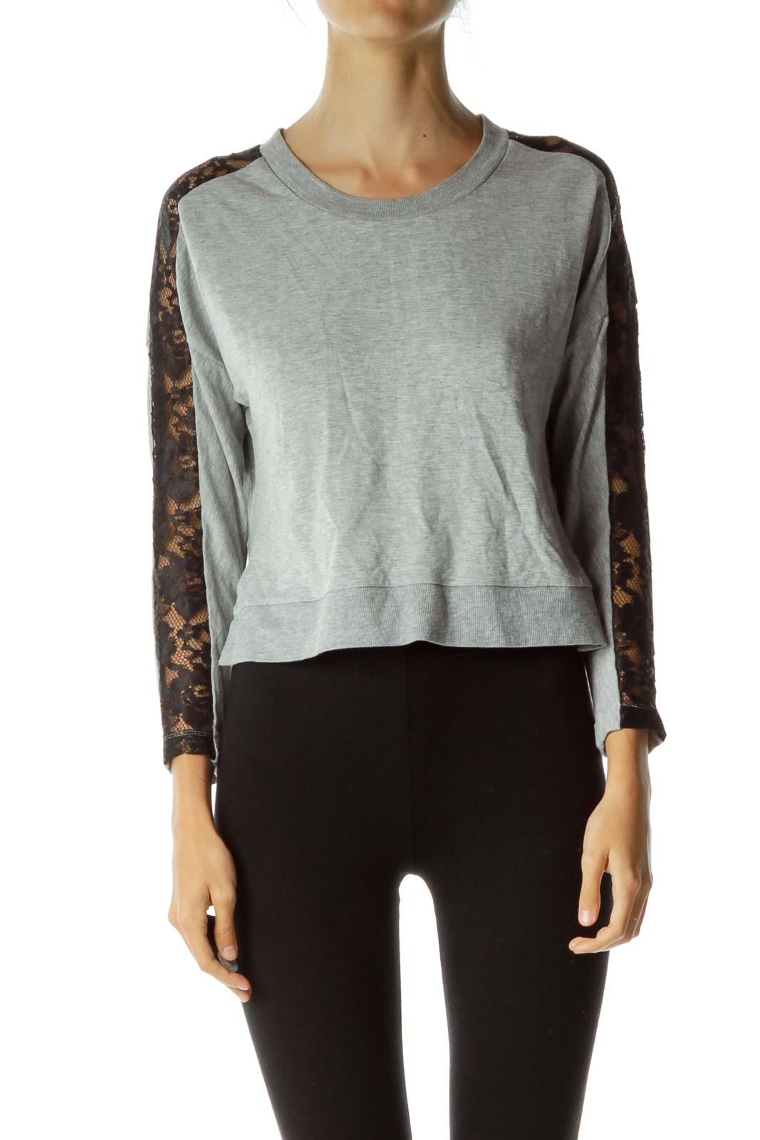 Gray Black Lace Sweatshirt