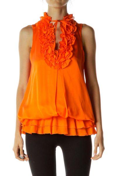Orange Ruffled Scrunched Blouse