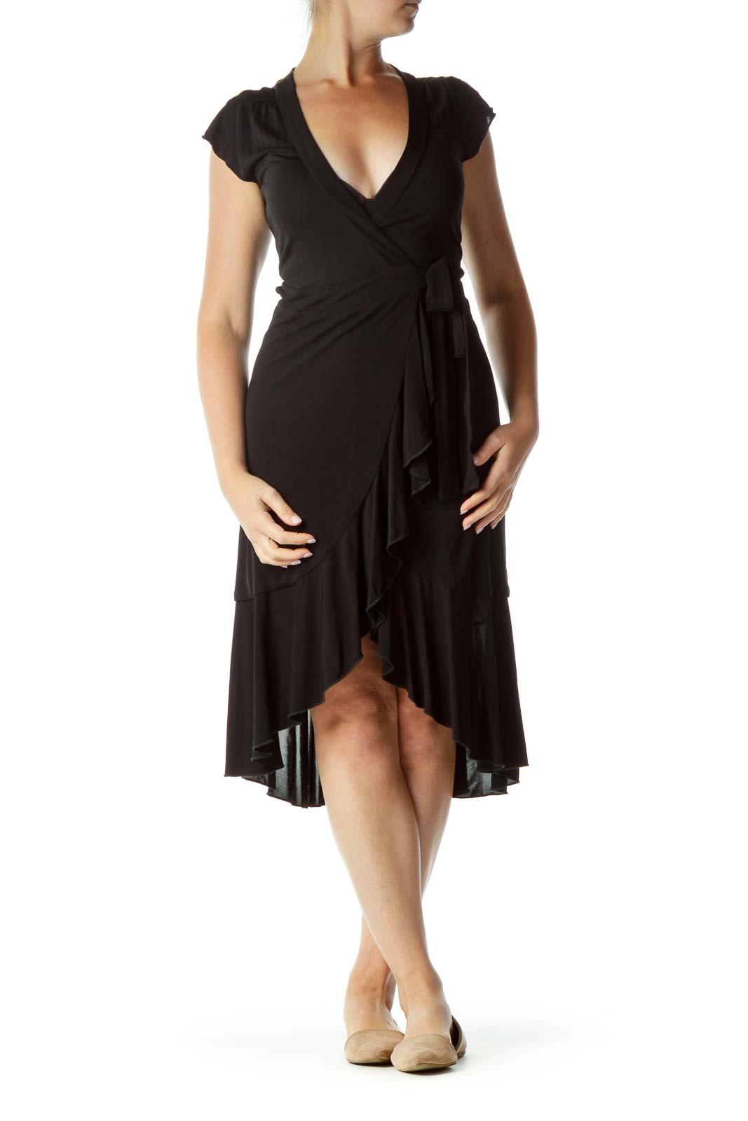 Black Wrap Midi Dress