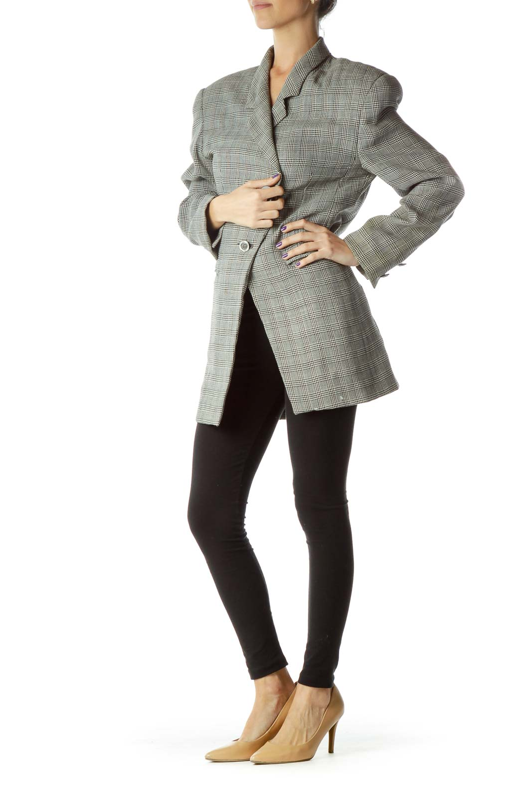 Black White Houndstooth Blazer