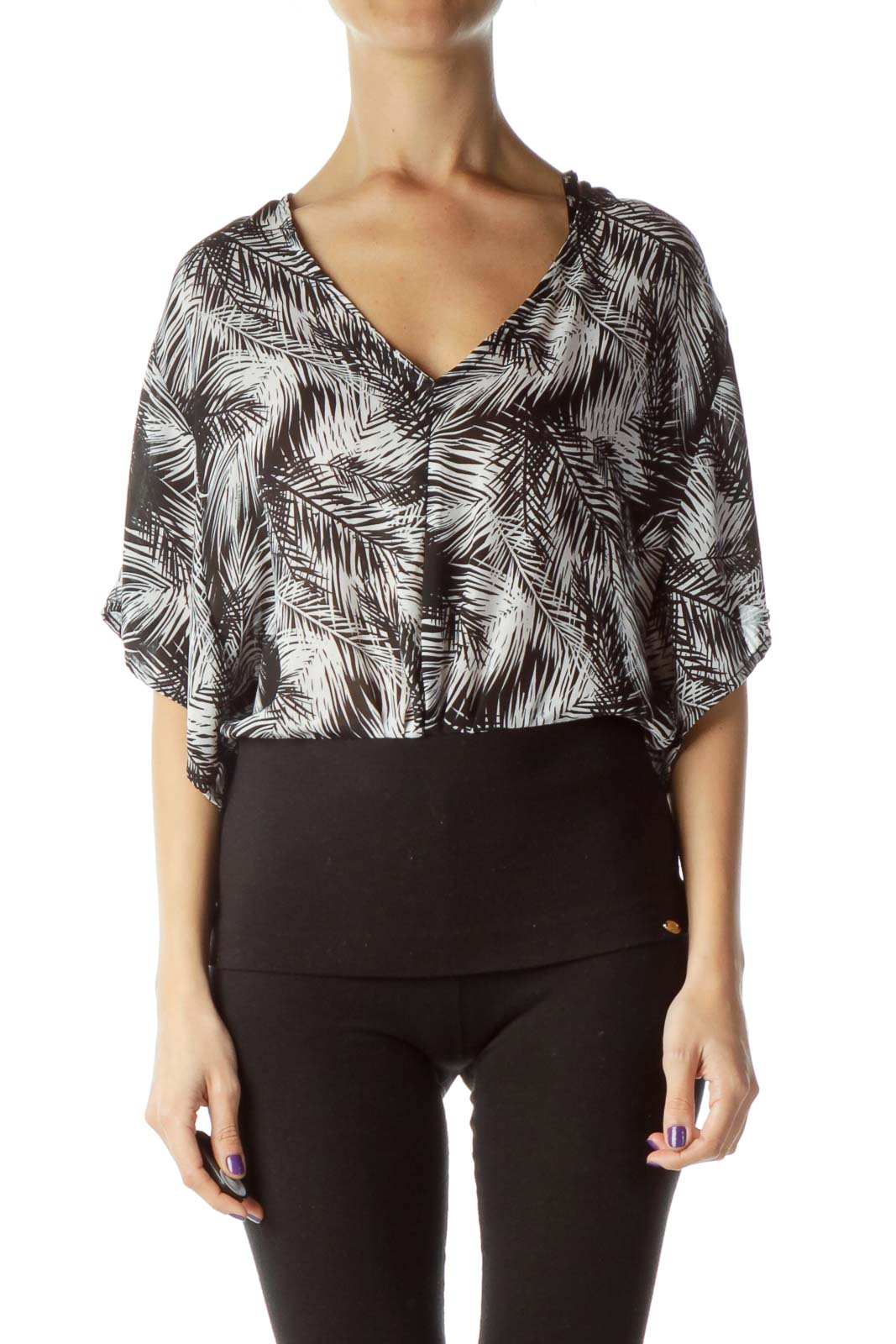 Black White Bat Sleeve Blouse