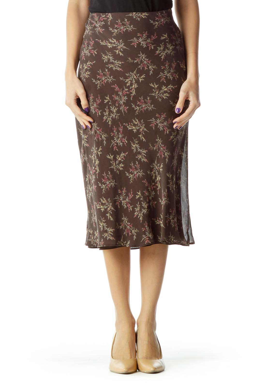 Brown Floral Knee-Length Skirt