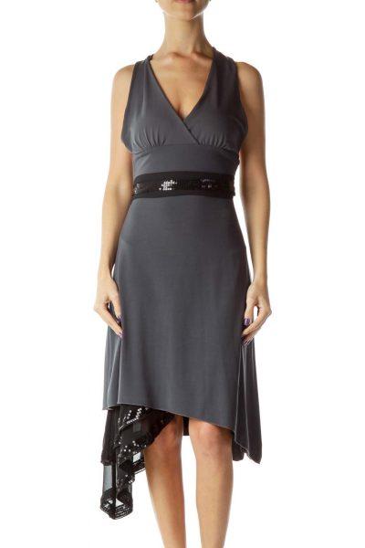 Gray Black Sequined Halter Dress