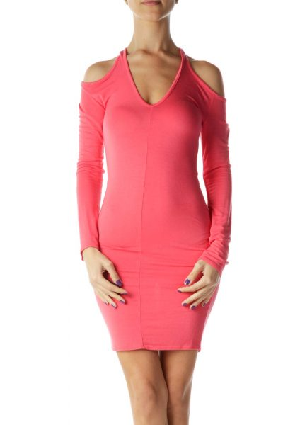 Pink Off-Shoulder Bodycon Jersey Dress