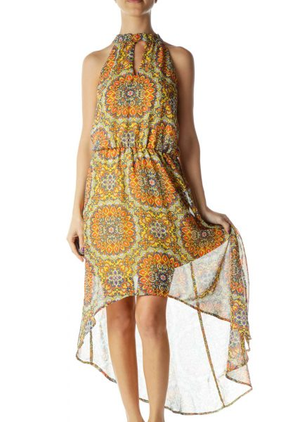 Yellow Orange Blue White High-Low Sleeveless Dress