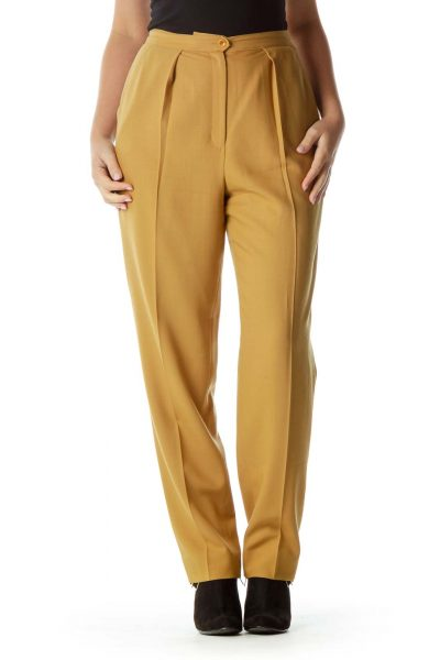 Mustard Yellow Pleated Wool Pants