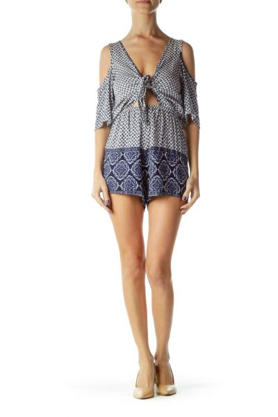 Blue White Off-Shoulder Print Romper