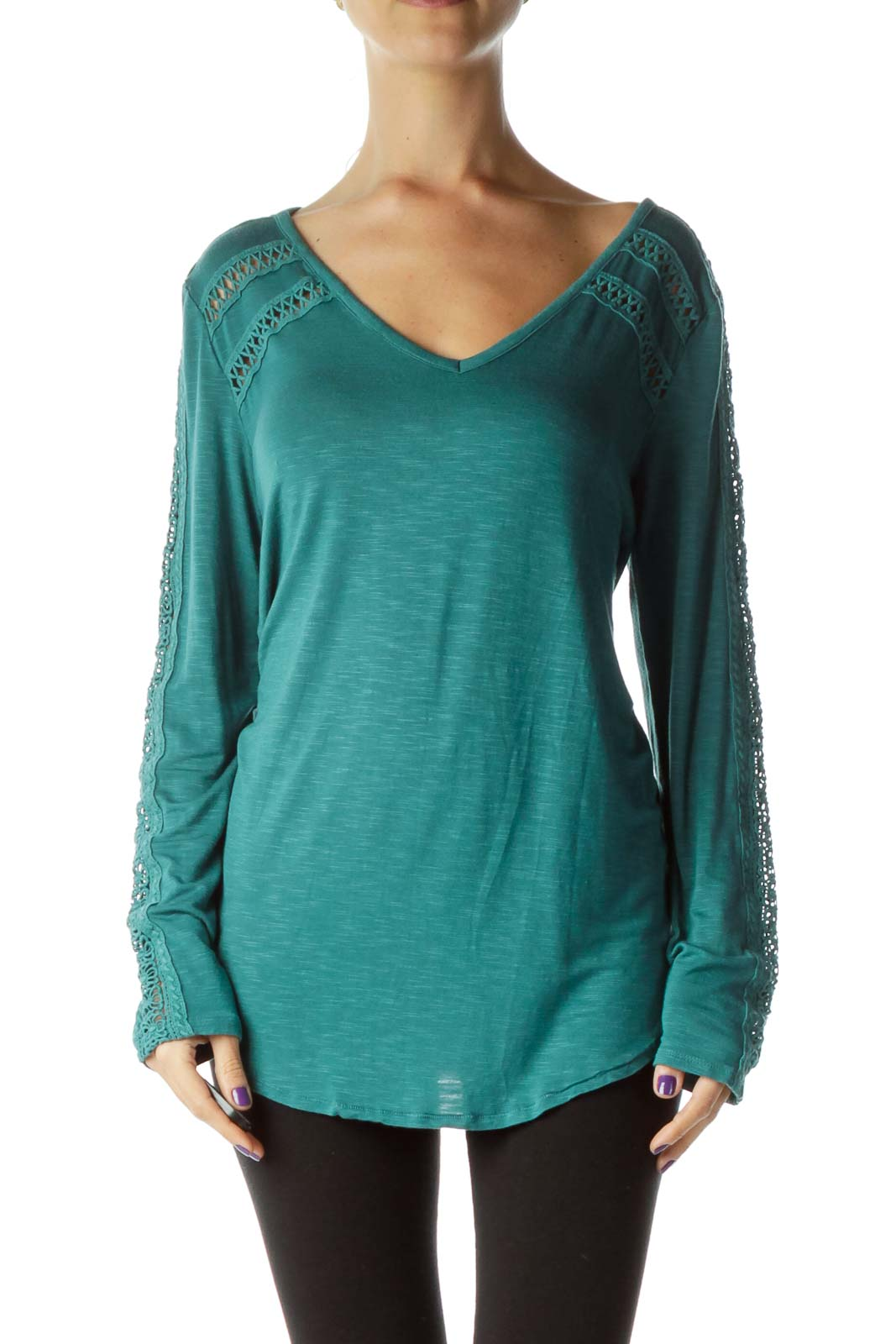 Green Embroidered Long Sleeve Blouse