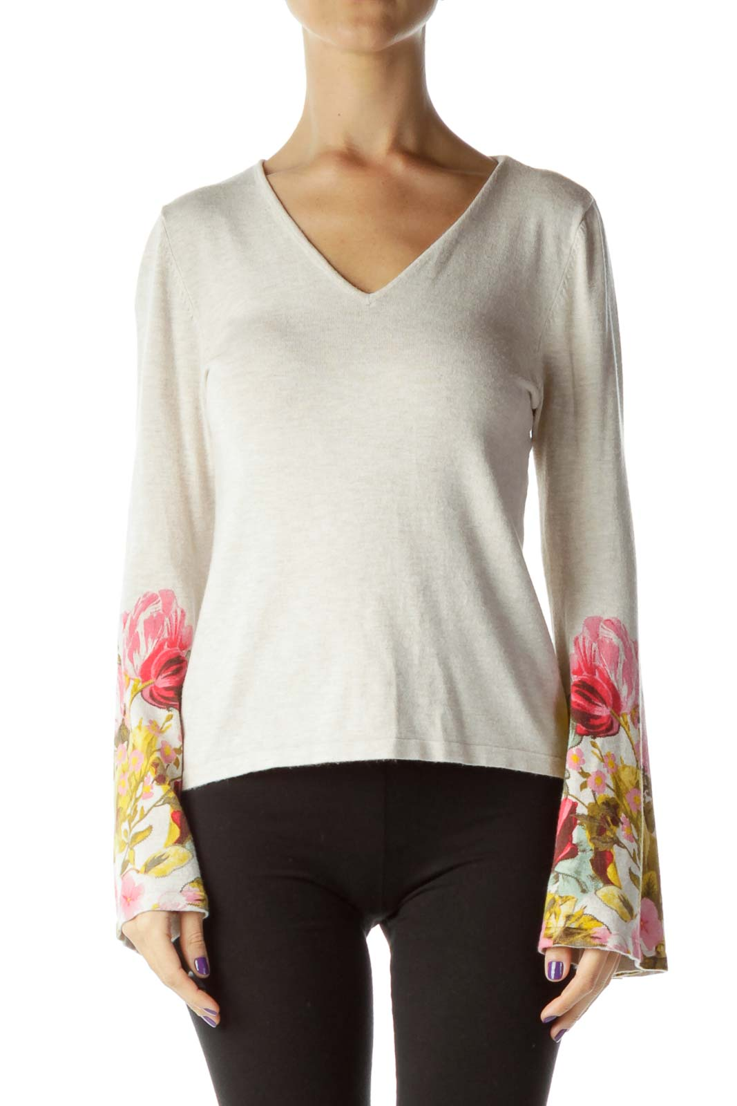 Beige Multicolor Floral Sleeve Knit Top