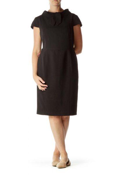 Black Tie Neck Detail Work Dress