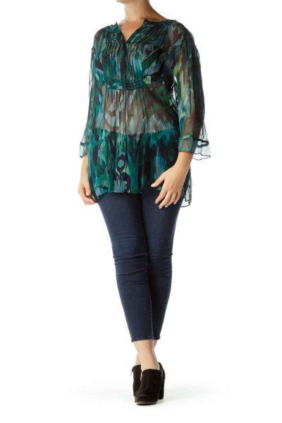 Green Blue Sheer 3/4-Sleeve Top