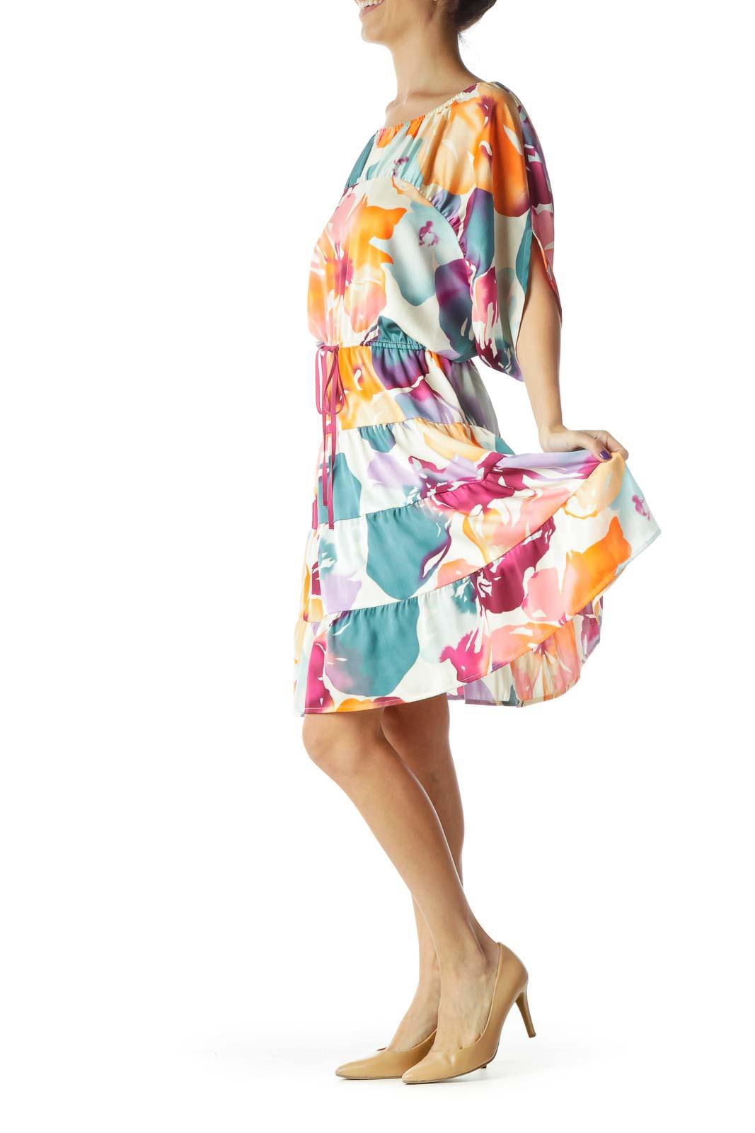 Orange Blue Pink Purple Floral Watercolor Print Short Sleeve Dress