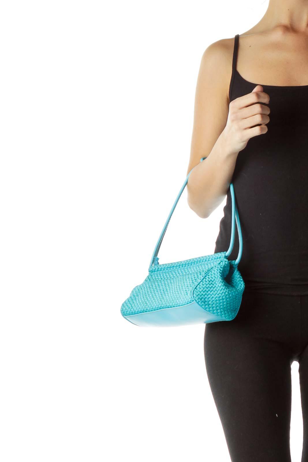 Teal Basket-Weave Shoulder Bag