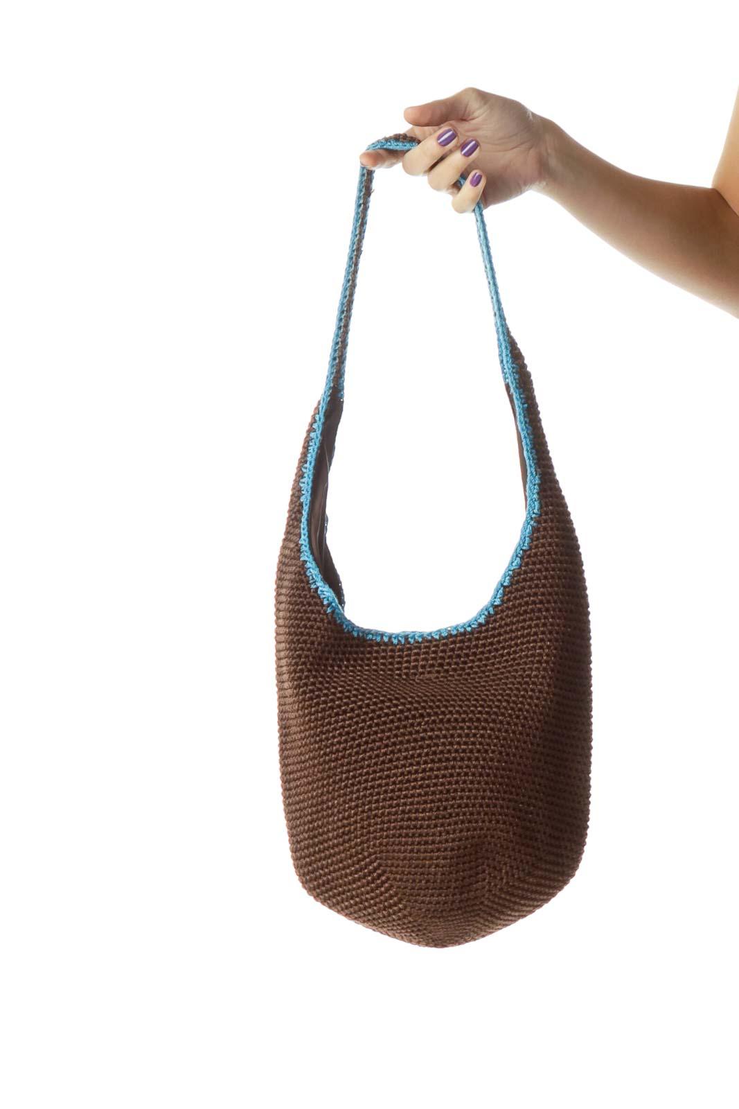 Brown Blue Crocheted Shoulder Bag