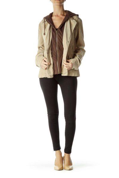 Brown Hooded Corduroy Jacket