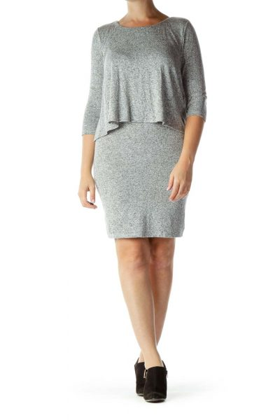 Heather Gray 3/4-Sleeve Knit Dress
