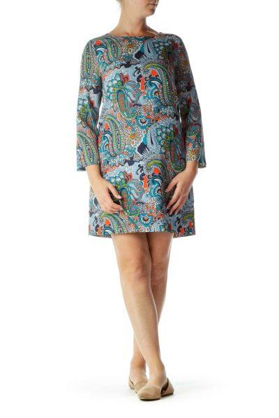 Blue Orange Gray Green Patterned Long-Sleeve Dress