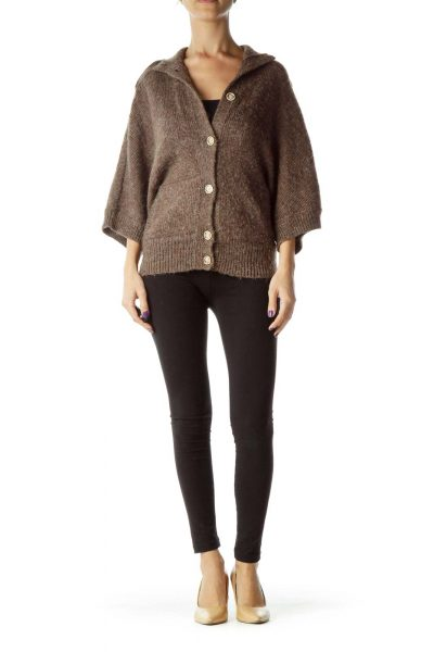 Brown Buttoned Short-Sleeve Knit