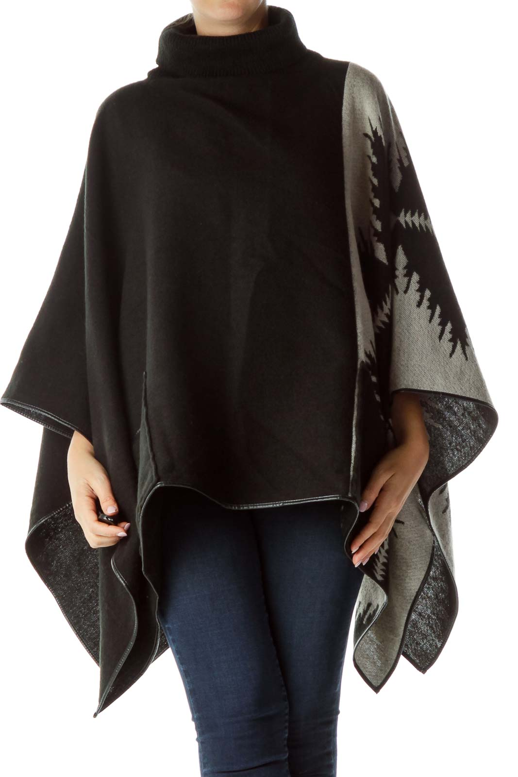 Blue Cream Turtleneck Poncho