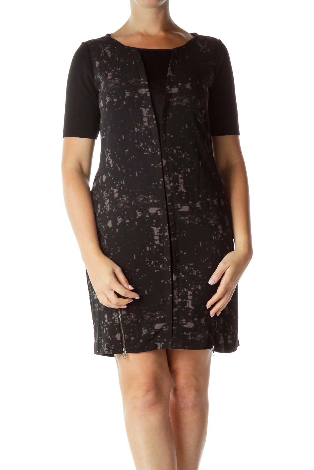Black Gray Mesh Zippered Short Sleeve Dress
