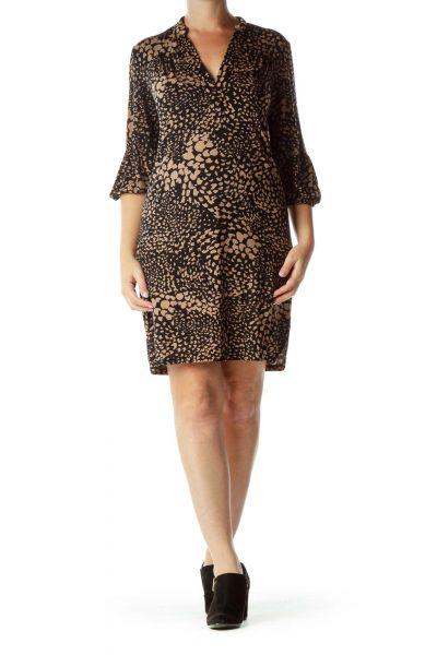 Black Brown Patterned 3/4-Sleeve Dress